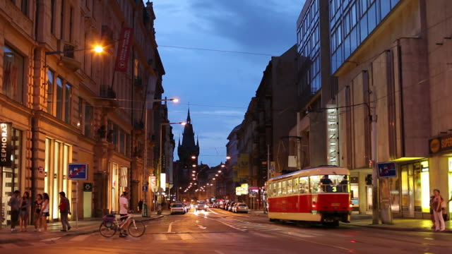 ws busy street at dusk / prague, czech republic - old town stock videos & royalty-free footage