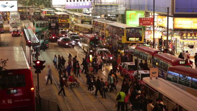 ws ha busy street at night / hong kong, china - pedestrian stock videos & royalty-free footage