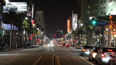 t/l ws busy street at night / los angeles, california, usa - nightlife stock videos & royalty-free footage