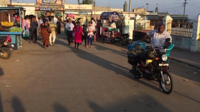 busy street bustling with people in kanyakumari tamil nadu india - chennai stock videos & royalty-free footage