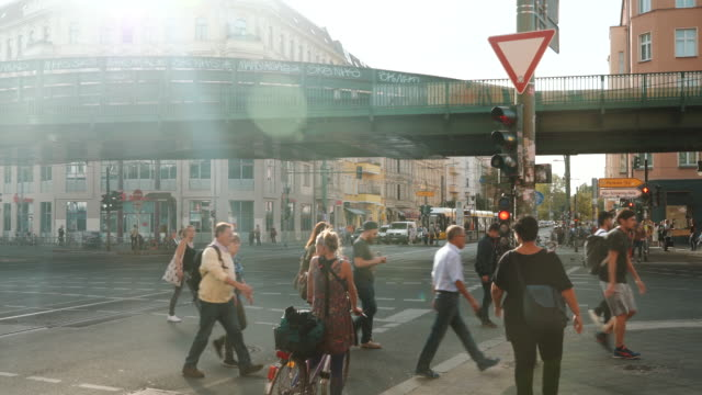 busy street in berlin, germany - crossroad stock videos & royalty-free footage