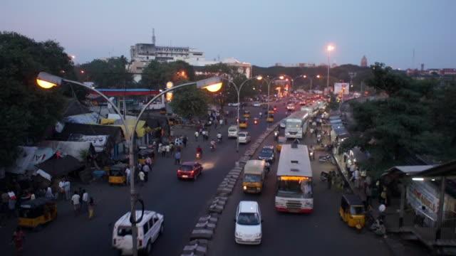 busy street in chennai, india - chennai stock videos & royalty-free footage