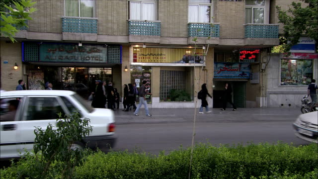 ws busy street in front of hotel isfahan, iran - iran stock videos & royalty-free footage