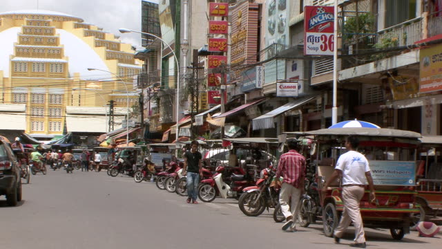 ms busy street in phnom penh leading to french market / sihanoukville, cambodia - cambodia stock videos and b-roll footage