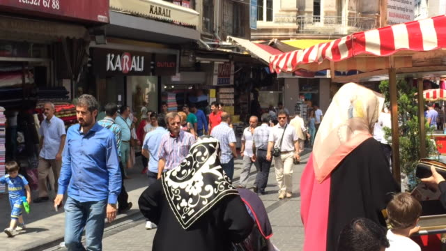 busy street in the historical centre of istanbul, turkey - istanbul stock videos & royalty-free footage