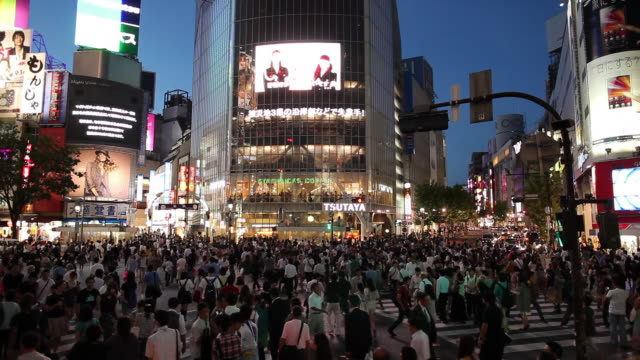 ws busy street intersection at night / tokyo, japan - electronic billboard stock videos and b-roll footage
