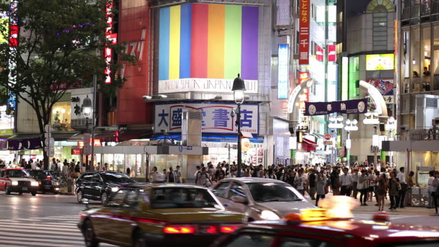 ws busy street intersection at night / tokyo, japan - japanese script stock videos & royalty-free footage