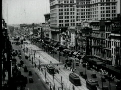 1929 b/w montage busy street / new orleans, louisiana - 1920 1929 stock videos & royalty-free footage