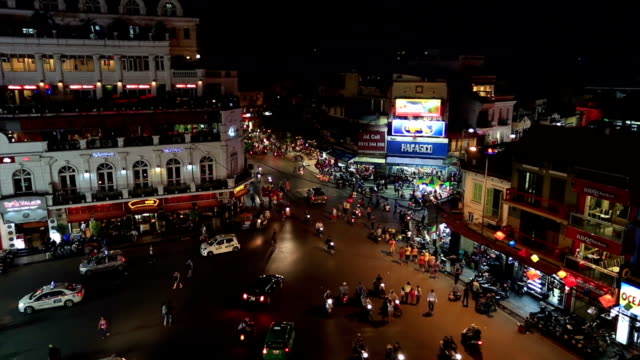 busy street of hanoi at night, vietnam - hanoi stock videos and b-roll footage
