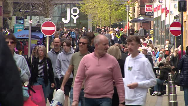 busy street scenes in leeds as shops reopen as coronavirus lockdown restrictions ease in england - urban road stock videos & royalty-free footage