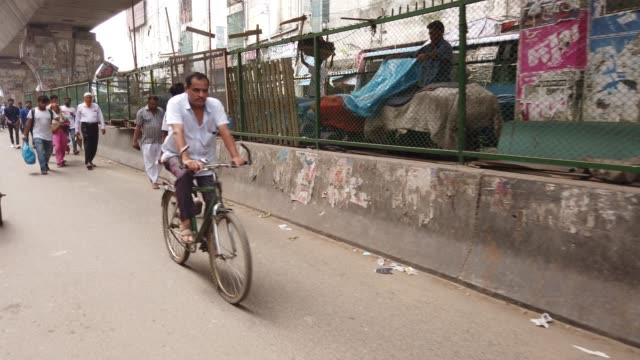 busy street seen in old dhaka city - rickshaw stock videos & royalty-free footage