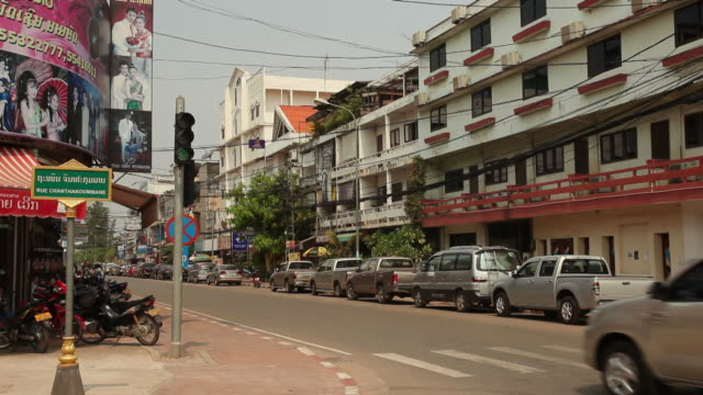 ws busy street / vientiane, laos - laos stock videos and b-roll footage