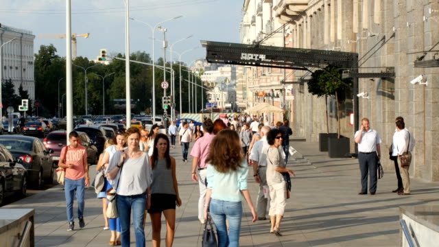 busy street with pedestrians  / moscow, russia - moscow russia video stock e b–roll