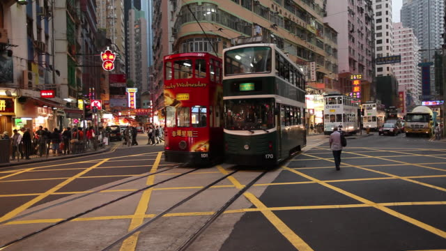MS Busy street with railcars / Hong Kong, China