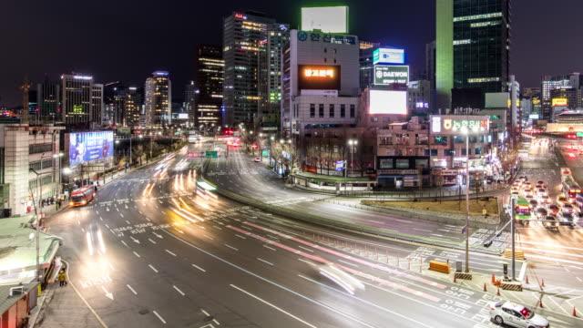 t/l ws busy streets in seoul at night / seoul, south korean - korea点の映像素材/bロール