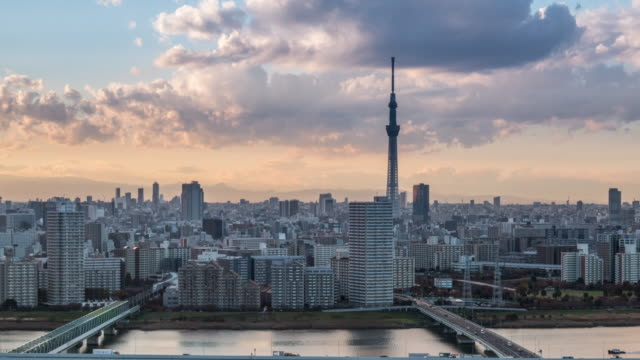 busy streets in tokyo and the view of tokyo skytree / tokyo, japan - スカイツリー点の映像素材/bロール