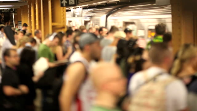 busy subway station (tilt shift lens) - underground train stock videos & royalty-free footage