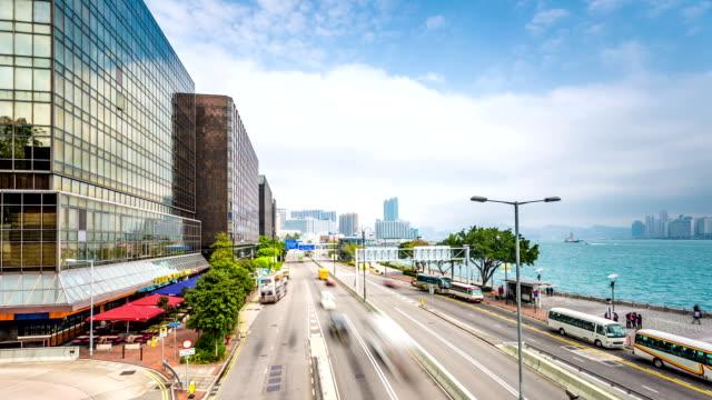 渋滞や建物にモダンな街の香港單ハイパーラプスます。 - ローカルな名所点の映像素材/bロール
