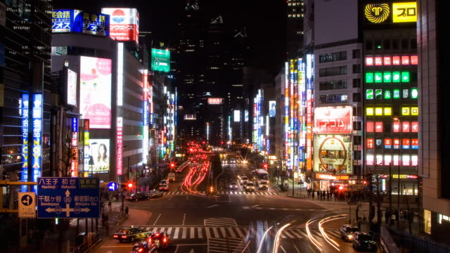 t/l ws ha busy traffic at crossing in shinjuku, tokyo, japan - land vehicle stock videos & royalty-free footage