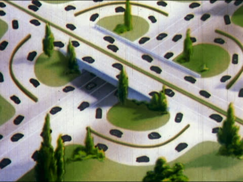 1948 ANIMATION busy traffic cloverleaf