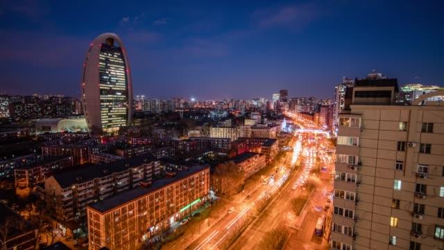 Busy traffic in Beijing, timelapse.