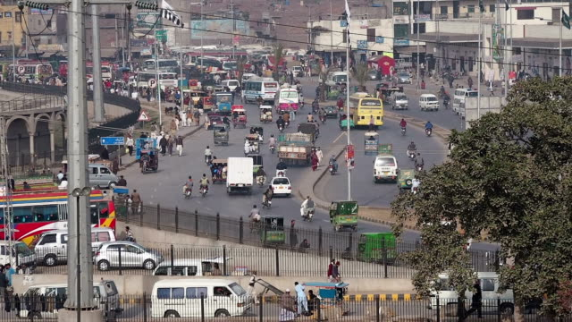 busy traffic in lahore - punjab pakistan stock videos & royalty-free footage
