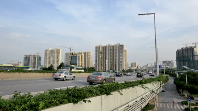Busy traffic on elevated road of guangzhou,real time.