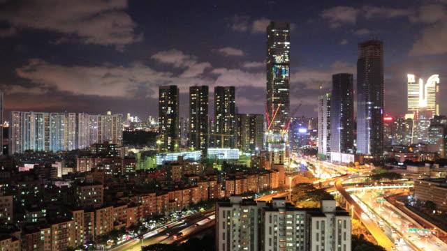 渋滞に高速道路や建物に深圳の夜は、リアルタイム。 - 24コマ撮影点の映像素材/bロール