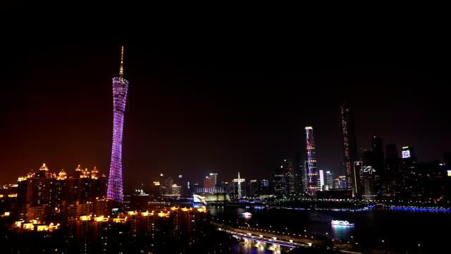 渋滞に川や街の景観を備えたモダンなシティ、廣州の夜のタイムラプスます。 - ローカルな名所点の映像素材/bロール