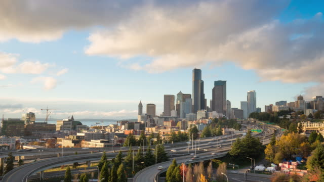 busy traffic on road,cityscape and skyline of seattle timelapse 4k