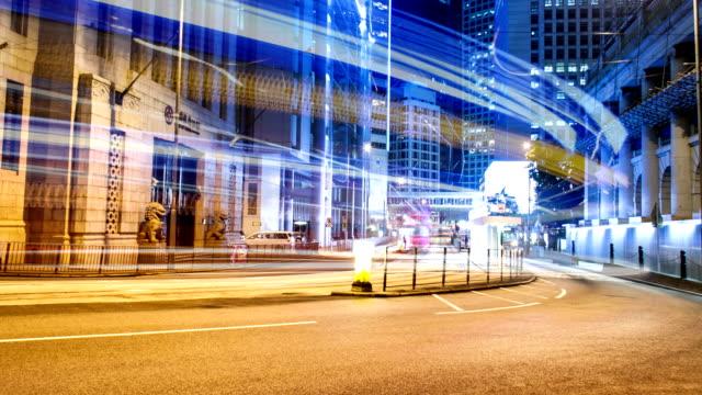渋滞、照明付きの建物と香港通りの夜には、time lapse (低速度撮影)