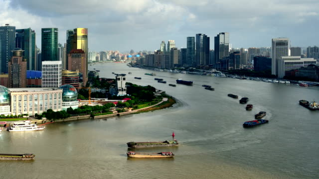 Busy Transport at Huangpu River, Shanghai, China