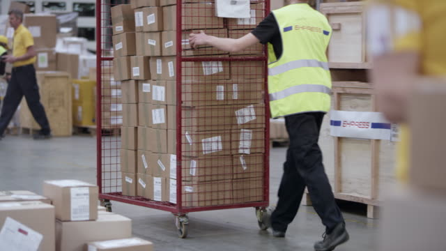 ds busy warehouse - package stock videos and b-roll footage