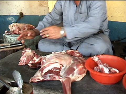 butcher preparing meat, darrah in swat agency of tribal zones, federally administered tribal areas, pakistan, audio - one mid adult man only stock videos & royalty-free footage