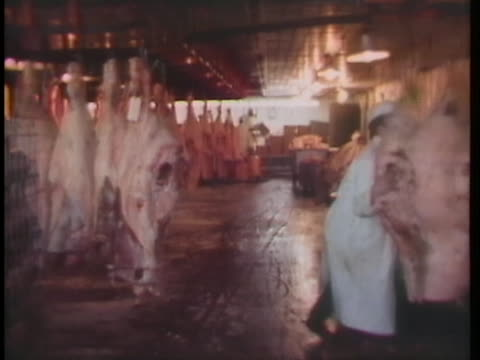 butcher pushes racks of meat in a processing plant. - slaughterhouse stock videos & royalty-free footage