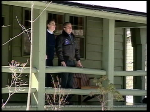 questions over remit; lib usa: ext us president george w.bush and prime minister tony blair posing on steps of cabin - prime minister's questions stock videos & royalty-free footage