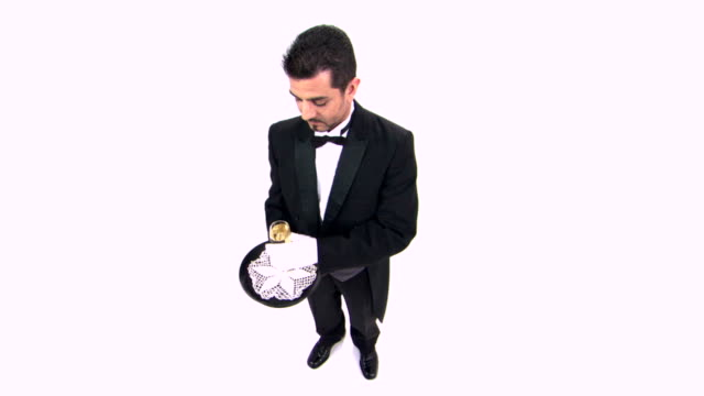 butler serving champagne - formal glove stock videos and b-roll footage
