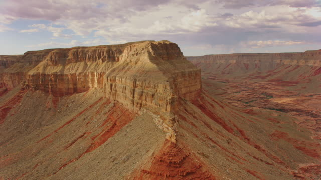 aerial butte in the south rim of grand canyon - butte rocky outcrop stock videos & royalty-free footage