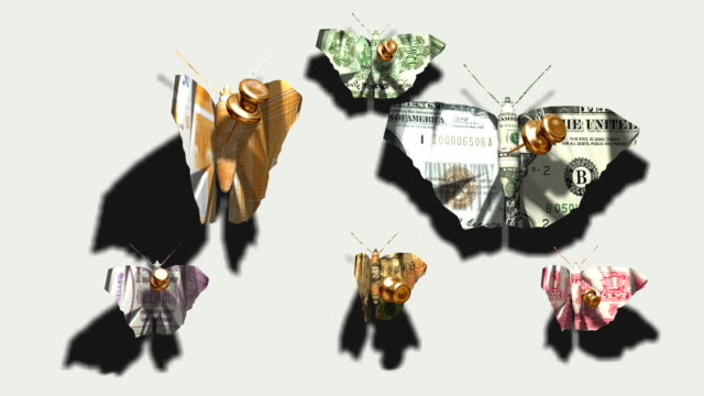 butterflies–banknotes pinned by gold needles - pin entry stock videos & royalty-free footage