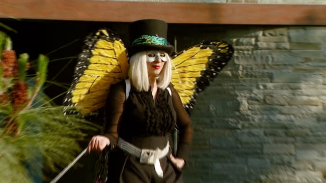 butterfly lady at the chrysalis butterfly ball at a private residence in los angeles, california on june 2, 2007. - chrysalis butterfly ball video stock e b–roll