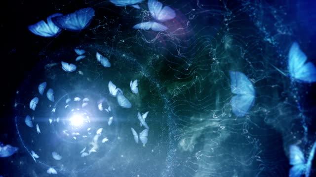vídeos y material grabado en eventos de stock de mariposa espiral (azul, golden relación) de bucle - fantasía