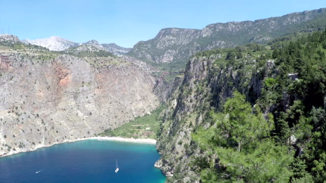 butterfly valley - aerial video - fethiye stock videos and b-roll footage