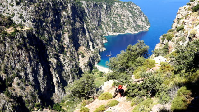butterfly valley from oludeniz. fethiye / turkey. - oludeniz stock videos and b-roll footage