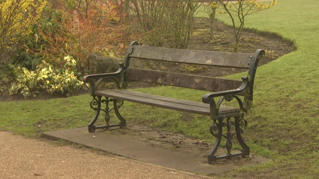 buxton and buxton brewery general views; england: derbyshire: buxton: ext / wet various shots of park with empty benches, trees, ducks and geese in... - duck stock videos & royalty-free footage