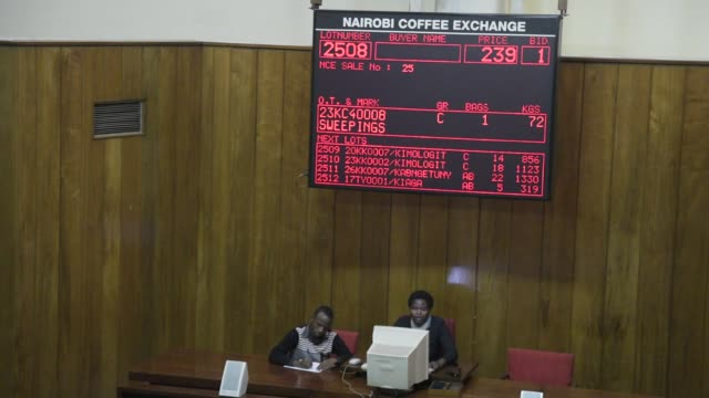 buyers bid on coffee beans in the auction room at the nairobi coffee exchange in nairobi kenya on tuesday may 23 2017 - caffeine molecule stock videos & royalty-free footage