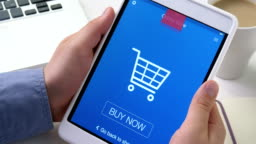 Buying goods in online store using digital tablet