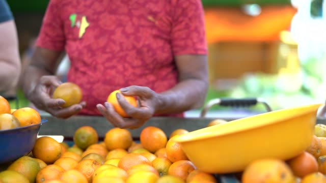 buying orange on street market - south america stock videos & royalty-free footage
