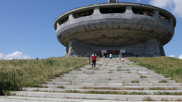 buzludzha monument, people walking to the buzludzha monument. - monument stock videos & royalty-free footage