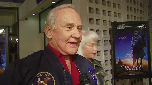 buzz aldrin astronaut talks about his 'dream' in life at the 'the astronaut farmer' premiere at the cinerama dome at arclight cinemas in hollywood... - the astronaut farmer stock videos and b-roll footage