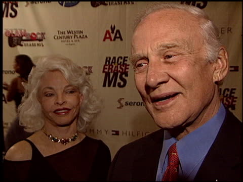 buzz aldrin at the race to erase at the century plaza hotel in century city, california on may 14, 2004. - race to erase ms stock videos & royalty-free footage
